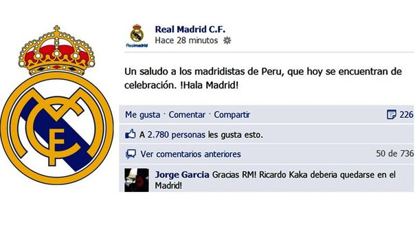 Club real madrid saluda al per por fiestas patrias for Correo real madrid