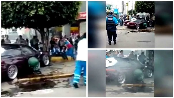 Auto se despista en avenida Brasil y atropella a transeúnte (VIDEO)