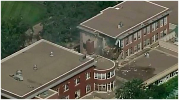 Explosión y derrumbe se registra en escuela de Minneapolis