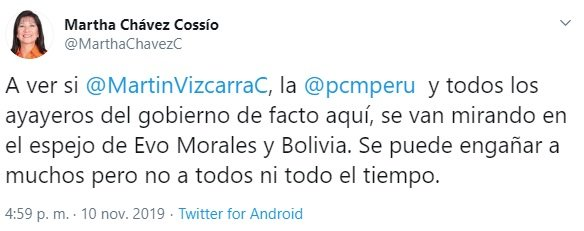 "Martha Chavez: ""Let's see if Martín Vizcarra looks in the mirror of Evo Morales"""