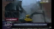 Inicia la demolición del edificio incendiado en La Victoria (VIDEO)