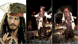 Johnny Depp apareció en Disneyland como Jack Sparrow y causó furor (VIDEO)
