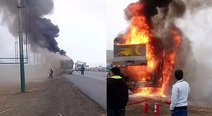 Cañete: Bus interprovincial se incendia en carretera Panamericana Sur (VIDEO)