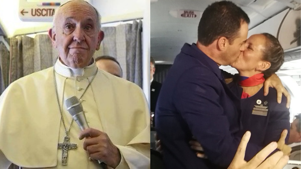 Papa Francisco casa a una pareja en avión en Chile (FOTO y VIDEO)
