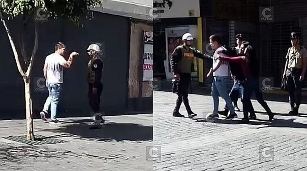 Ebrio agrede a efectivo policial (VIDEO)