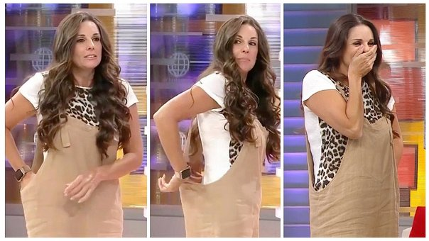 6055fb5825e8 Rebeca Escribens mostró su ropa interior por error en pleno programa (VIDEO)