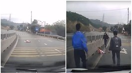 Viral: Video capta a bebé gateando en medio de carretera en Vietnam (VIDEO)