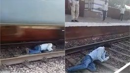 Hombre se salvó de milagro de ser arrollado por un tren en la India  (VIDEO)