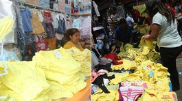 '​Rematan' prendas de color amarilla en Gamarra (VIDEO)