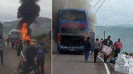 Bus se incendia en plena carretera de Ayacucho y pasajeros se salvan de milagro (VIDEO)